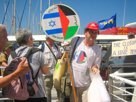 Peace activists Beate Zilversmidt and Adam Keller, two of the organizers, leaving the boat